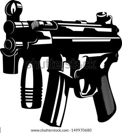 Vector illustration of a machine gun - stock vector