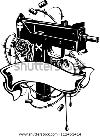 Vector illustration of a machine gun with barbed wire and ribbon - stock vector