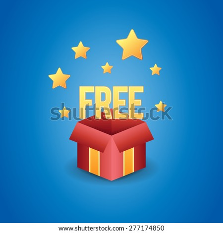 Vector illustration of a magic free gift box. - stock vector