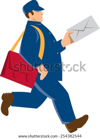 vector illustration of a mailman postal worker deilvery man delivering mail envelope done in retro art deco style. - stock vector