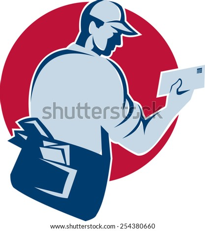 vector illustration of a mailman postman postal delivery work delivering mail envelope set inside circle done in retro style on isolated white background. - stock vector