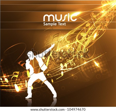 Vector illustration of a male singing on an abstract vintage background - stock vector
