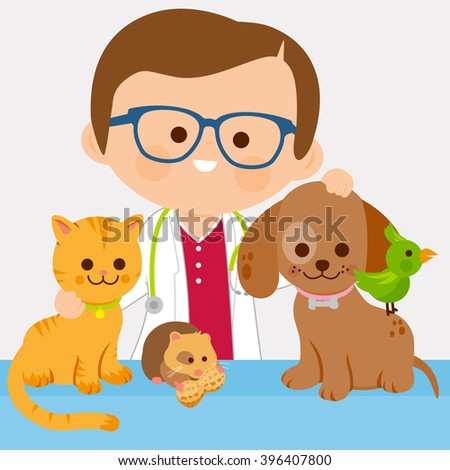 Vector illustration of a male veterinary physician and pets: a cat, dog, a hamster and a bird   - stock vector
