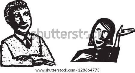 Vector illustration of a man and a woman talking