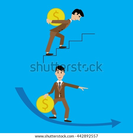vector illustration of a man carrying a coin hard on the stairs, coming down with the coin slides. Cartoon