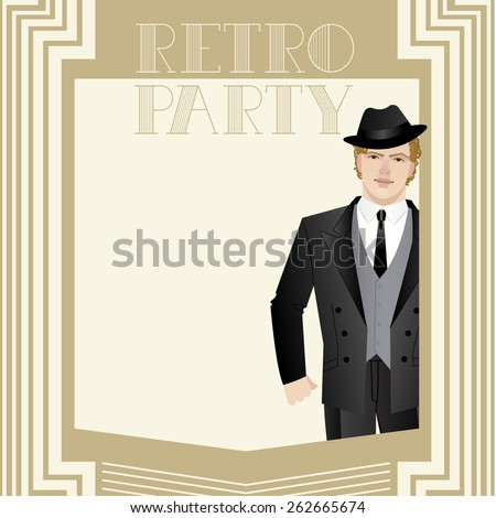 Vector illustration of a man dressed in retro style - stock vector