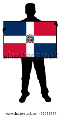 vector illustration of a man holding a flag of dominican republic - stock vector