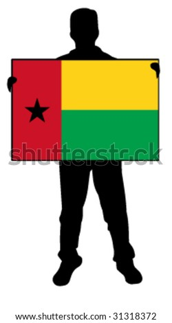 vector illustration of a man holding a flag of guinea bissau