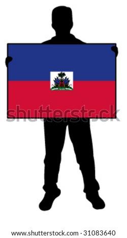 vector illustration of a man holding a flag of haiti - stock vector