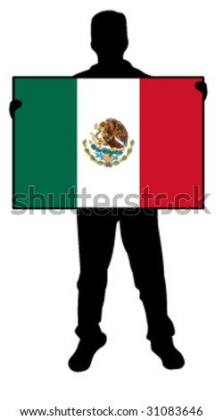 vector illustration of a man holding a flag of mexico - stock vector