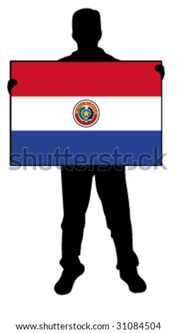 vector illustration of a man holding a flag of paraguay - stock vector