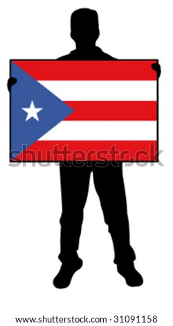 vector illustration of a man holding a flag of puerto rico - stock vector
