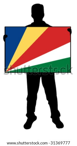 vector illustration of a man holding a flag of seychelles