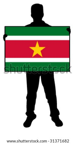 vector illustration of a man holding a flag of suriname - stock vector