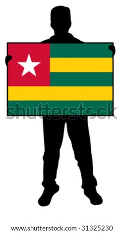 vector illustration of a man holding a flag of togo