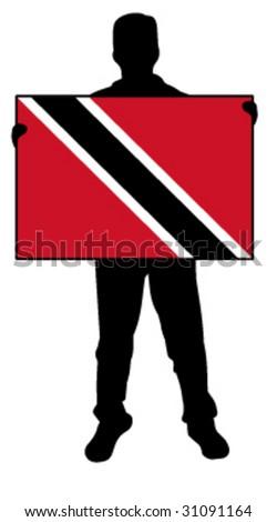 vector illustration of a man holding a flag of trinidad ad tobago - stock vector