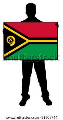 vector illustration of a man holding a flag of vanautu
