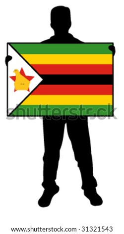 vector illustration of a man holding a flag of zimbabwe