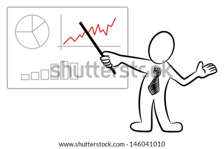 vector illustration of a man holding a presentation