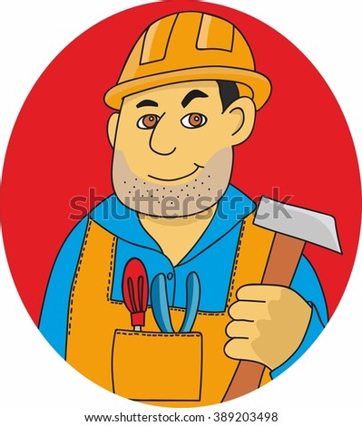 vector illustration of a man in a construction helmet and overalls. worker with hammer in his hands and tools. Repairman with the tool  - stock vector