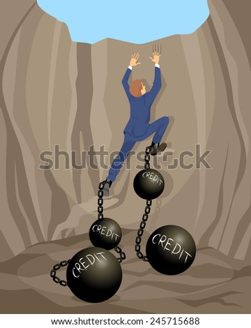 Vector illustration of a man in debt hole - stock vector