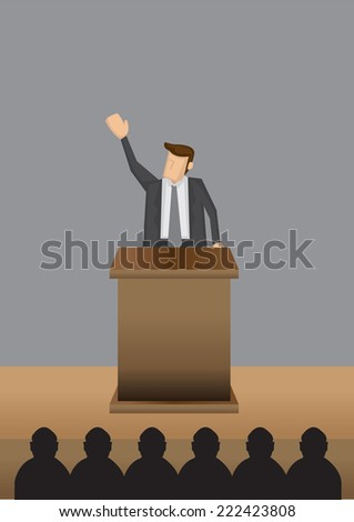 Vector illustration of a man in professional grey suit standing at lectern giving public speech. - stock vector