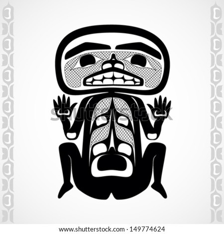 Vector illustration of a man. Modern stylization of North American and Canadian native art in black and white - stock vector