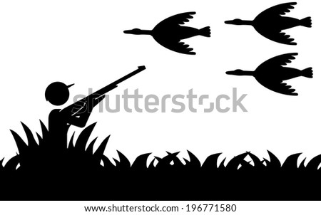 Vector / illustration of a man that is hunting birds. - stock vector