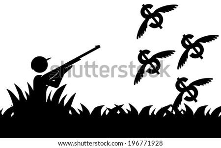 Vector / illustration of a man that is hunting flying dollars. - stock vector