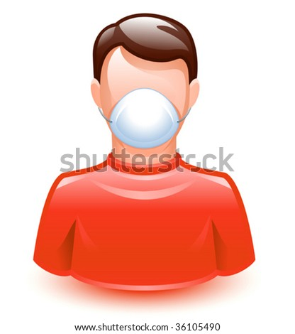 vector illustration of a man wearing a protection mask - stock vector