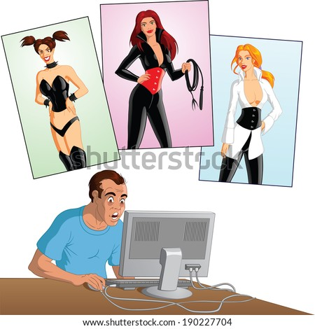 Vector illustration of a man who is addicted to specific fetish content on the internet. - stock vector