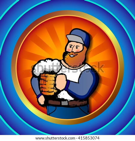 Vector illustration of a man with a beer in the blue round frame
