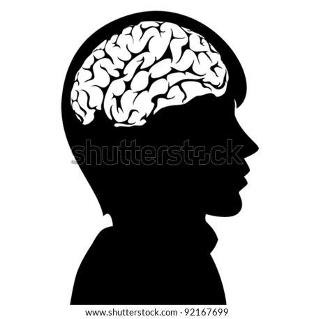 vector illustration of a man with brain in his head