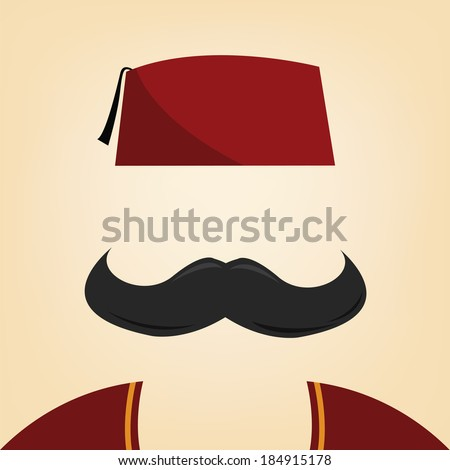 vector illustration of a man with fez - stock vector