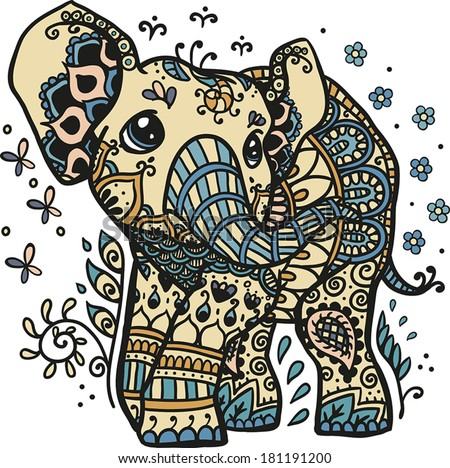 Vector Illustration of a mandala elephant in a desert theme - stock vector