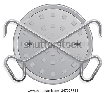 Vector Illustration of a Manhole Cover and two Hooks.