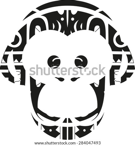 Vector illustration of a maori monkey face