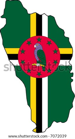 Vector Illustration of a Map and Flag from Dominica