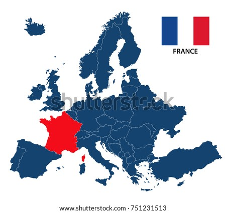 Vector illustration map europe highlighted france stock photo photo vector illustration of a map of europe with highlighted france and french flag isolated on a gumiabroncs Gallery
