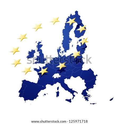 Vector Illustration of a map of European union and EU flag illustration - stock vector