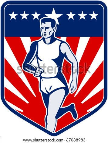 vector  illustration of a Marathon runner done in retro style with american flag stars and stripes and sunburst in shield background - stock vector
