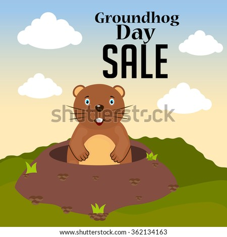 Vector illustration of a marmot for Happy Groundhog Day sale background.