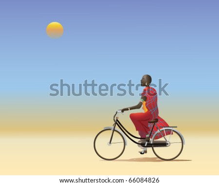 vector illustration of a masai man riding a bicycle along a dusty track across the african plains in eps10 format - stock vector