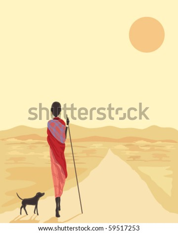 vector illustration of a masai man with his dog walking along a road in africa under the setting sun - stock vector