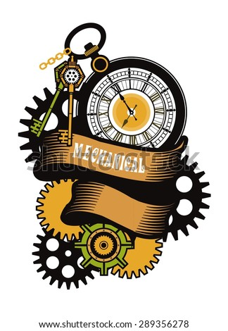 vector illustration of a mechanical watch with banners in the style of steam punk