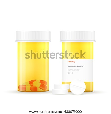 Vector illustration of a medical plastic bottle. Packing on white background isolated