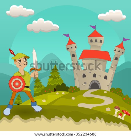 Vector illustration of a medieval hero or knight in front of the castle. - stock vector