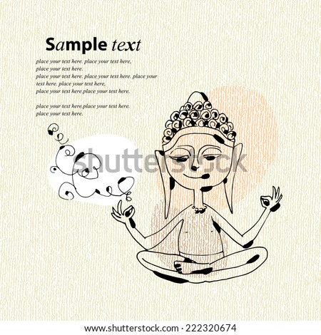 "Vector illustration of a meditating little Buddha. Cute hand drawn picture, funny naive style. Cartoon image for cover and ""Happy Birthday"" card. - stock vector"