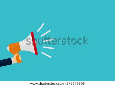 Vector illustration of a megaphone in his hand. - stock vector