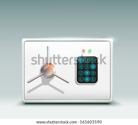 vector illustration of a metal safe - stock vector